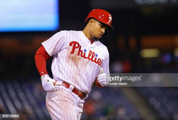Aaron Altherr of the Philadelphia Phillies during a game against the Atlanta Braves at Citizens Bank Park on July 28 2017 in Philadelphia...