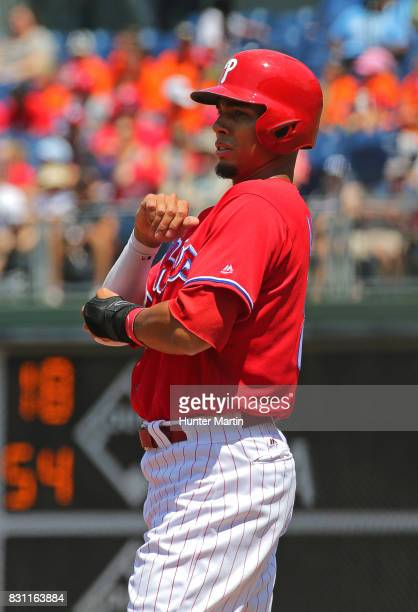Aaron Altherr of the Philadelphia Phillies during a game against the Atlanta Braves at Citizens Bank Park on July 31 2017 in Philadelphia...