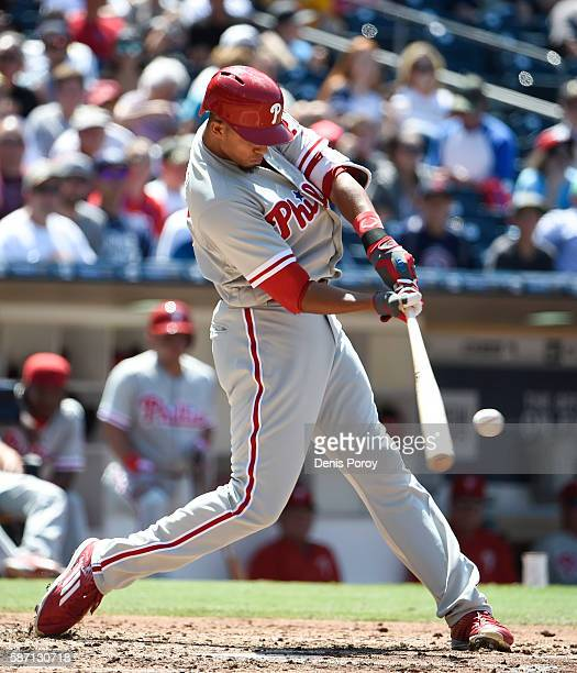 Aaron Altherr of the Philadelphia Phillies hits a single during the fourth inning of a baseball game against the San Diego Padres at PETCO Park on...