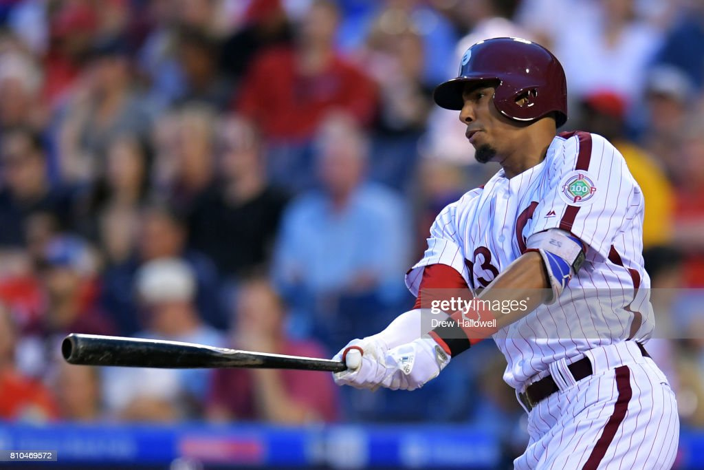 Aaron Altherr #23 of the Philadelphia Phillies hits a single in the sixth inning at Citizens Bank Park on July 7, 2017 in Philadelphia, Pennsylvania.