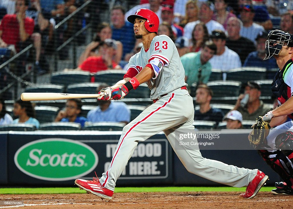 Aaron Altherr #23 of the Philadelphia Phillies hits a two run home run in the fifth inning against the Atlanta Braves at Turner Field on July 28, 2016 in Atlanta, Georgia.