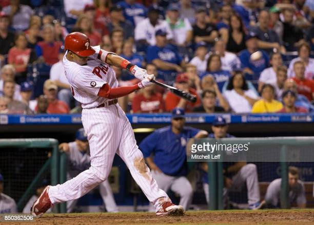 Aaron Altherr of the Philadelphia Phillies hits a two run home run in the bottom of the seventh inning against the Los Angeles Dodgers at Citizens...