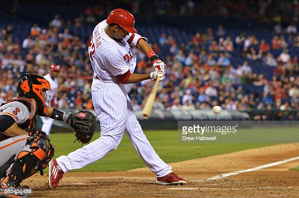 Aaron Altherr of the Philadelphia Phillies hits a two run single in the eighth inning against the San Francisco Giants at Citizens Bank Park on...