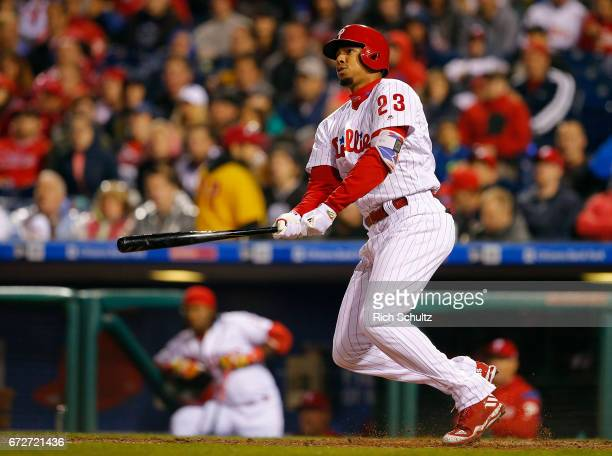 Aaron Altherr of the Philadelphia Phillies in action against the Atlanta Braves during a game at Citizens Bank Park on April 22 2017 in Philadelphia...