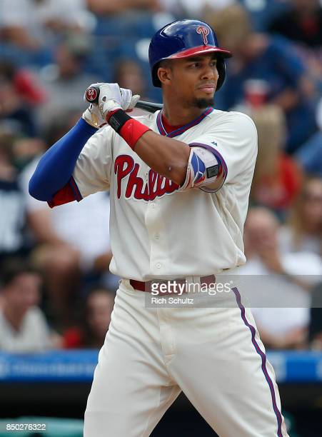 Aaron Altherr of the Philadelphia Phillies in action against the Oakland Athletics during a game at Citizens Bank Park on September 17 2017 in...