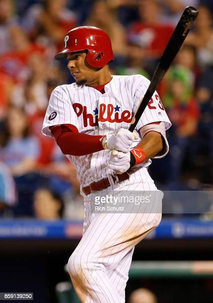 Aaron Altherr of the Philadelphia Phillies in action against the Washington Nationals during a game at Citizens Bank Park on September 26 2017 in...