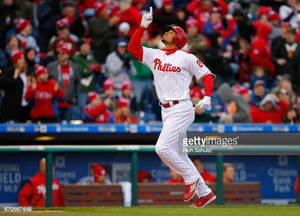 Aaron Altherr of the Philadelphia Phillies in action against the Washington Nationals in a game at Citizens Bank Park on April 7 2017 in Philadelphia...