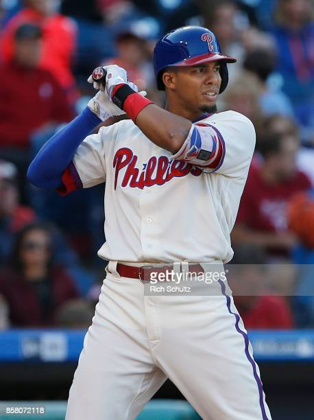 Aaron Altherr of the Philadelphia Phillies in action against the New York Mets during a game at Citizens Bank Park on October 1 2017 in Philadelphia...