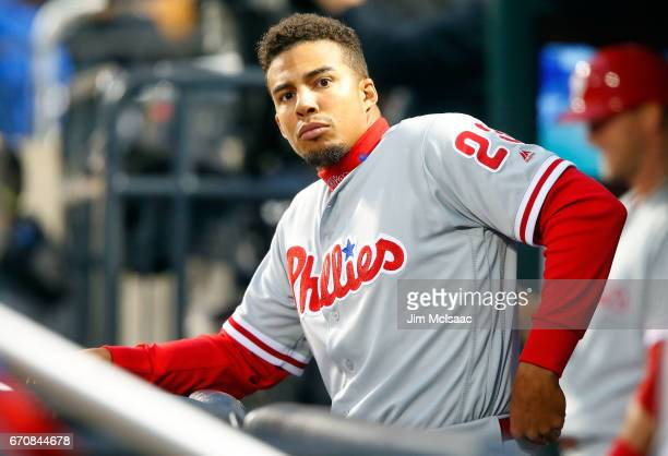 Aaron Altherr of the Philadelphia Phillies looks on before a game against the New York Mets at Citi Field on April 19 2017 in the Flushing...