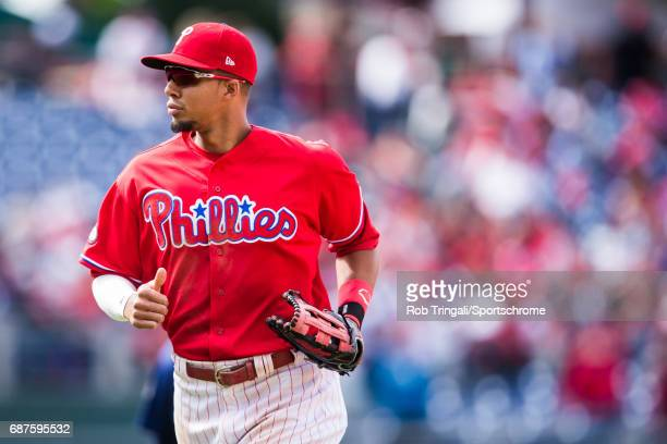 Aaron Altherr of the Philadelphia Phillies looks on during the game against the Seattle Mariners at Citizens Bank Park on May 10 2017 in Philadelphia...