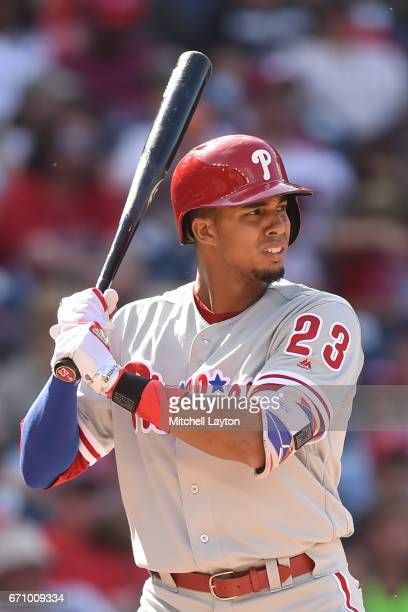 Aaron Altherr of the Philadelphia Phillies prepares for a pitch during the game against the Washington Nationals at Nationals Park on April 16 2017...