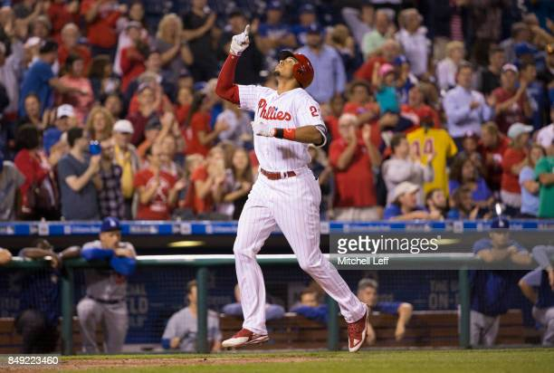 Aaron Altherr of the Philadelphia Phillies reacts after hitting a grand slam in the bottom of the sixth inning against the Los Angeles Dodgers at...