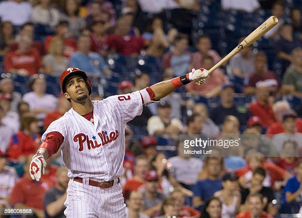 Aaron Altherr of the Philadelphia Phillies reacts after striking out in the bottom of the seventh inning against the Washington Nationals at Citizens...