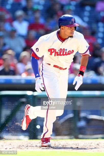 Aaron Altherr of the Philadelphia Phillies runs during the game against the Atlanta Braves at Citizens Bank Park on July 30 2017 in Philadelphia PA...