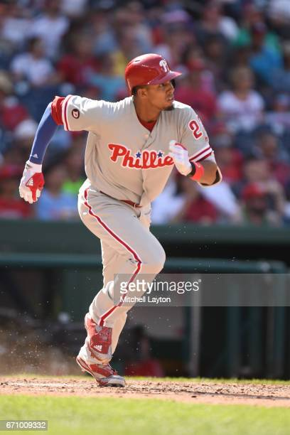 Aaron Altherr of the Philadelphia Phillies runs to first base during the game against the Washington Nationals at Nationals Park on April 16 2017 in...