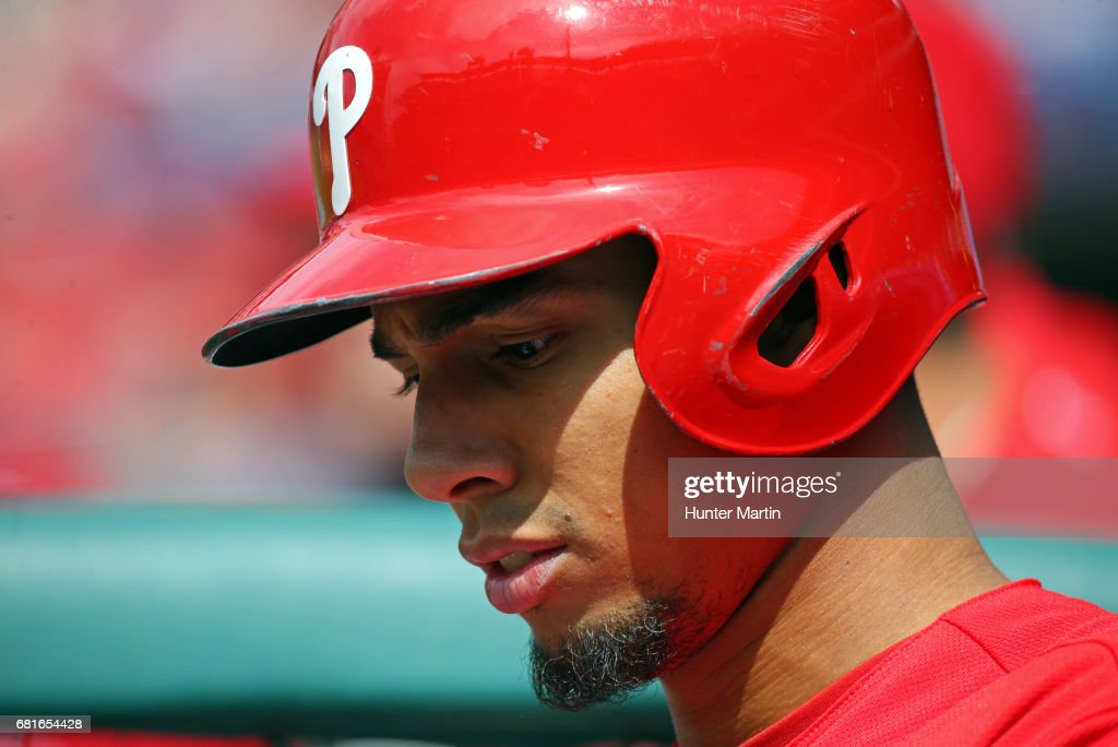 Aaron Altherr #23 of the Philadelphia Phillies stands in the dugout in the fifth inning during a game against the Seattle Mariners at Citizens Bank Park on May 10, 2017 in Philadelphia, Pennsylvania. The Mariners won 11-6.
