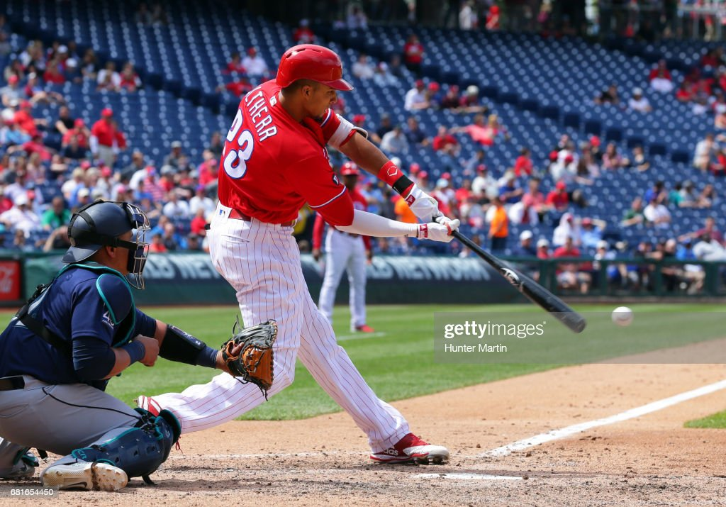 Aaron Altherr #23 of the Philadelphia Phillies swings at a pitch in the fifth inning during a game against the Seattle Mariners at Citizens Bank Park on May 10, 2017 in Philadelphia, Pennsylvania. The Mariners won 11-6.