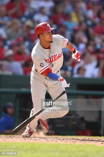 Aaron Altherr of the Philadelphia Phillies takes a swing during the game against the Washington Nationals at Nationals Park on April 16 2017 in...