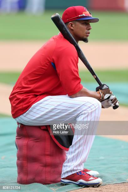 Aaron Altherr of the Philadelphia Phillies takes batting practice before the game against the Atlanta Braves at Citizens Bank Park on July 28 2017 in...