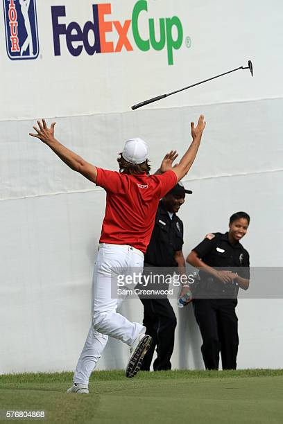 Aaron Baddeley of Australia celebrates after his putt on the fourth hole of the playoff to win against Si Woo Kim of Korea during the final round of...