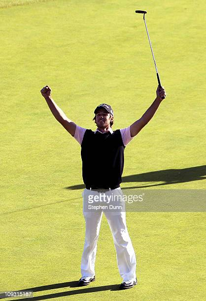 Aaron Baddeley of Australia celebrates after maiking the winning putt during the final round of the Northern Trust Open at Riviera Country Club on...
