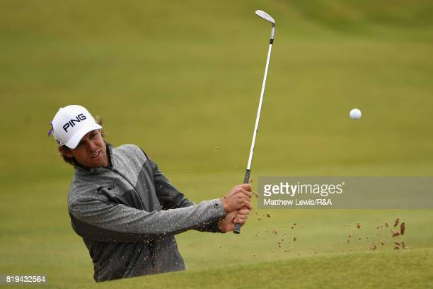 Aaron Baddeley of Australia hits a bunker shot on the 4th hole during the first round of the 146th Open Championship at Royal Birkdale on July 20...