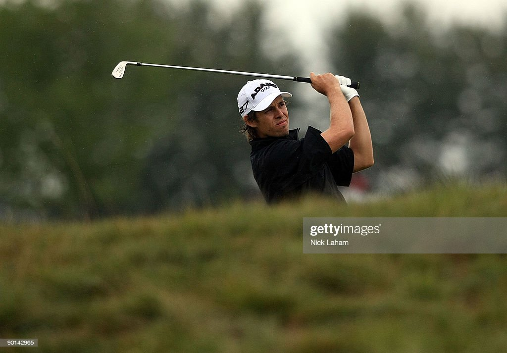 Aaron Baddeley of Australia hits his second shot on the 17th hole during round two of The Barclays on August 28 2009 at Liberty National in Jersey...