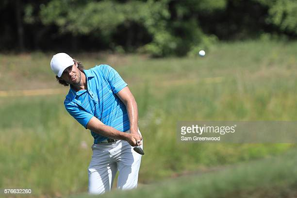 Aaron Baddeley of Australia hits off the fifteenth hole during the third round of the Barbasol Championship at the Robert Trent Jones Golf Trail at...
