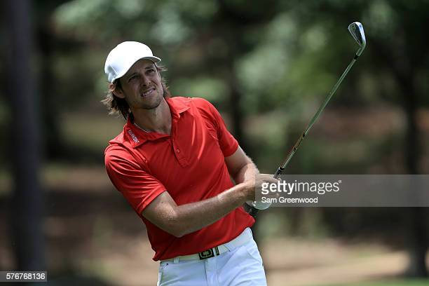 Aaron Baddeley of Australia hits off the third hole during the final round of the Barbasol Championship at the Robert Trent Jones Golf Trail at Grand...