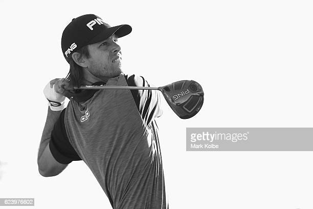 Aaron Baddeley of Australia plays his tee shot on the 13th hole during day two of the Australian golf Open at Royal Sydney GC at Royal Sydney Golf...