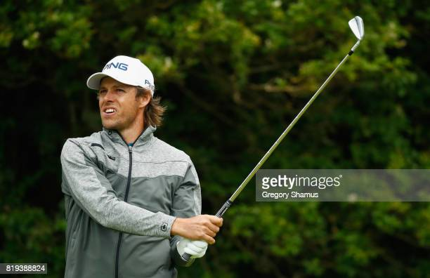 Aaron Baddeley of Australia tees off on the 5th hole during the first round of the 146th Open Championship at Royal Birkdale on July 20 2017 in...