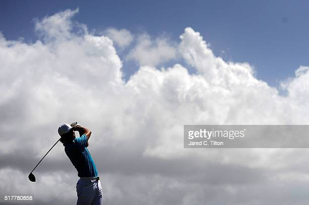 Aaron Baddeley of Australia tees off on the ninth hole during the final round of the Puerto Rico Open at Coco Beach on March 27 2016 in Rio Grande...
