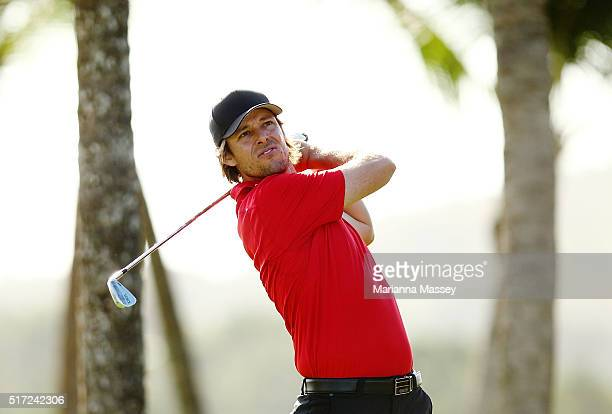 Aaron Baddeley of Australia tees off on the third hole during the first round of the Puerto Rico Open at Coco Beach on March 24 2016 in Rio Grande...