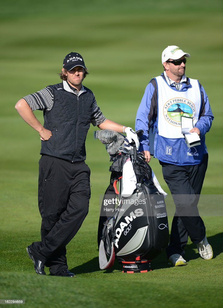 <a gi-track='captionPersonalityLinkClicked' href=/galleries/search?phrase=Aaron+Baddeley&family=editorial&specificpeople=214226 ng-click='$event.stopPropagation()'>Aaron Baddeley</a> of Australia waits with his caddie during the second round of the AT&T Pebble Beach National Pro-Am at Pebble Beach Golf Links on February 8, 2013 in Pebble Beach, California.