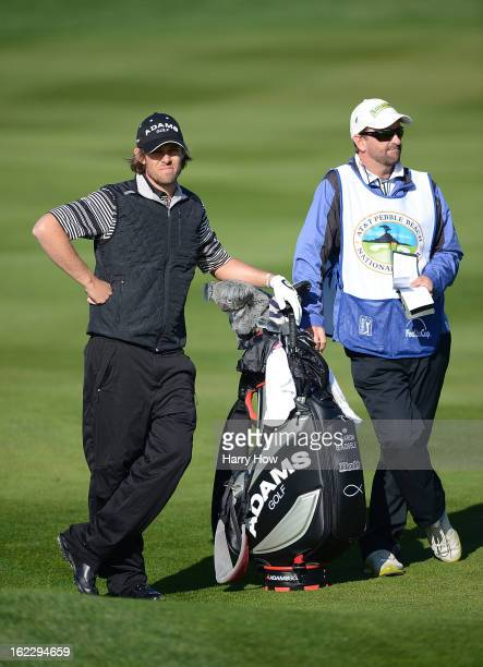 Aaron Baddeley of Australia waits with his caddie during the second round of the ATT Pebble Beach National ProAm at Pebble Beach Golf Links on...
