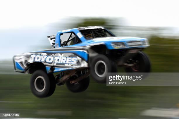 Aaron Bambach goes over a jump during the SPEED Energy Stadium Super Trucks Race at Watkins Glen International on September 3 2017 in Watkins Glen...