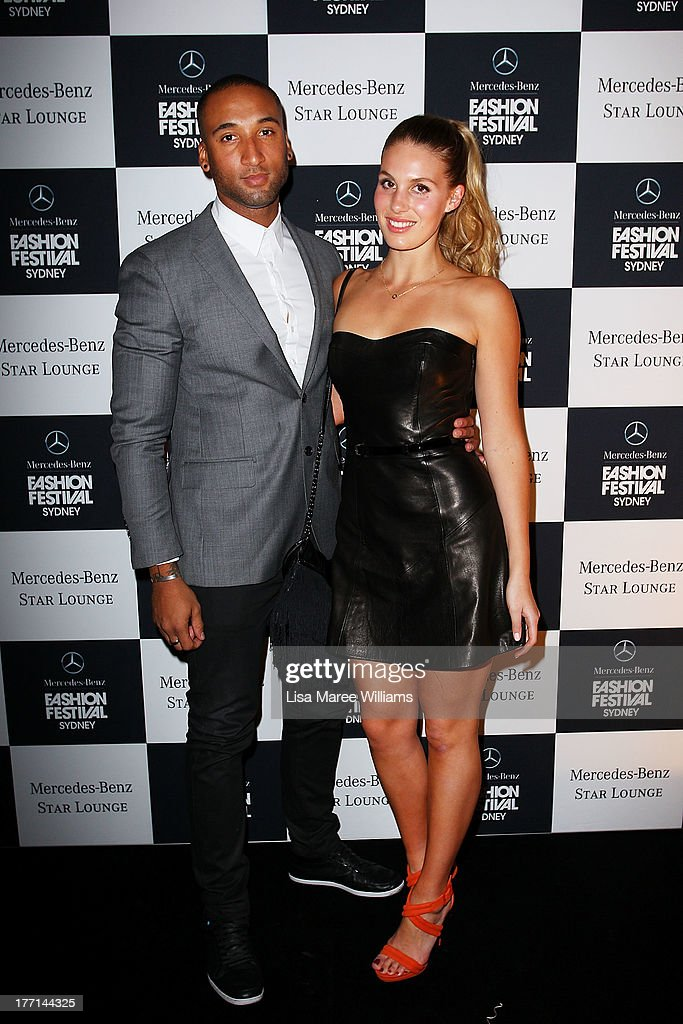 Aaron Bannie and Sophie Abernethy at the MBFWA Trends show after party during Mercedes-Benz Fashion Festival Sydney 2013 at Sydney Town Hall on August 21, 2013 in Sydney, Australia.