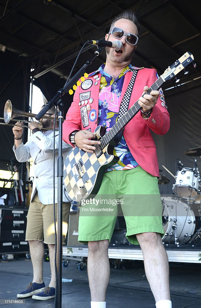 Aaron Barrett (R) of Reel Big Fish performs as part of the Vans Warped Tour at Shoreline Amphitheatre on June 22, 2013 in Mountain View, California.