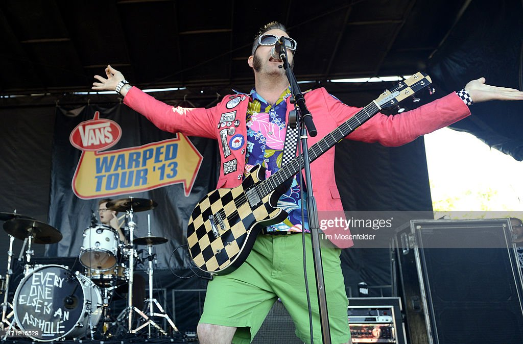 Aaron Barrett of Reel Big Fish performs as part of the Vans Warped Tour at Shoreline Amphitheatre on June 22, 2013 in Mountain View, California.