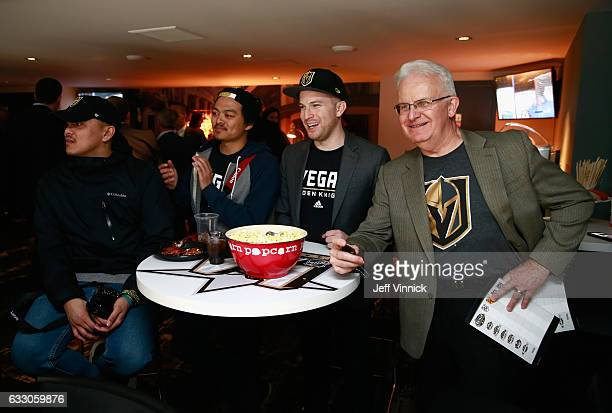 Aaron Bernales Eugene Go Emil Wozniak and Evan Wozniak watch the 2017 Coors Light NHL AllStar Skills Competition at Staples Center on January 28 2017...