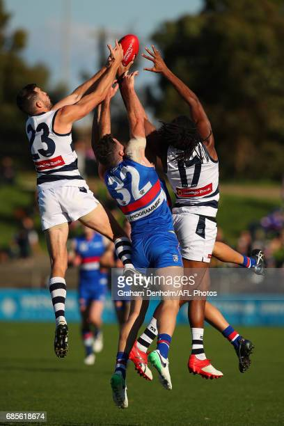 Aaron Black of Geelong competes in the air with Kieran Collins of Footscray during the round six VFL match between the Footscray Bulldogs and the...