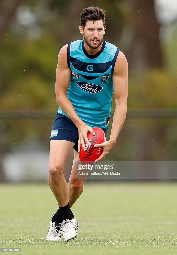 Aaron Black of the Cats in action during the Geelong Cats training session at Deakin University, Waurn Ponds on January 13, 2017 in Geelong Australia.