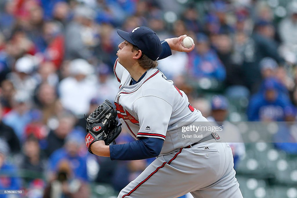 Aaron Blair #36 of the Atlanta Braves pitches in the first inning against the Chicago Cubs at Wrigley Field on April 29, 2016 in Chicago, Illinois.