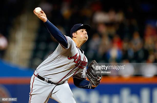 Aaron Blair of the Atlanta Braves pitches in the first inning against the New York Mets at Citi Field on September 19 2016 in the Flushing...