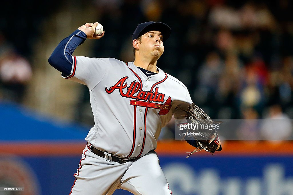 Aaron Blair #36 of the Atlanta Braves pitches in the first inning against the New York Mets at Citi Field on September 19, 2016 in the Flushing neighborhood of the Queens borough of New York City.