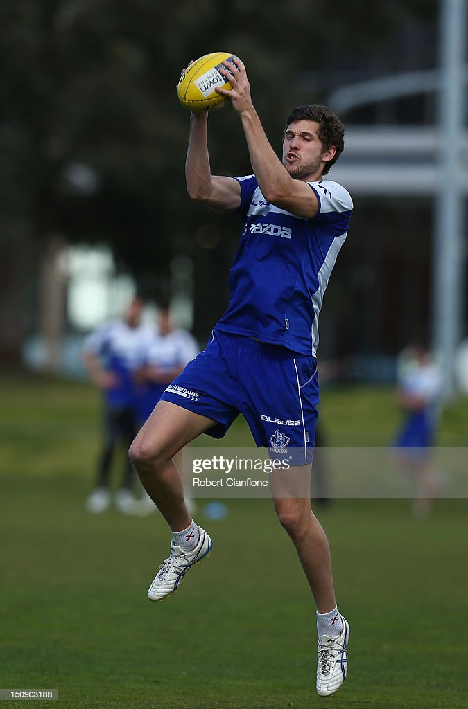Aaron Blake of the Kangaroos marks the ball training session at Aegis Park on August 29, 2012 in Melbourne, Australia.