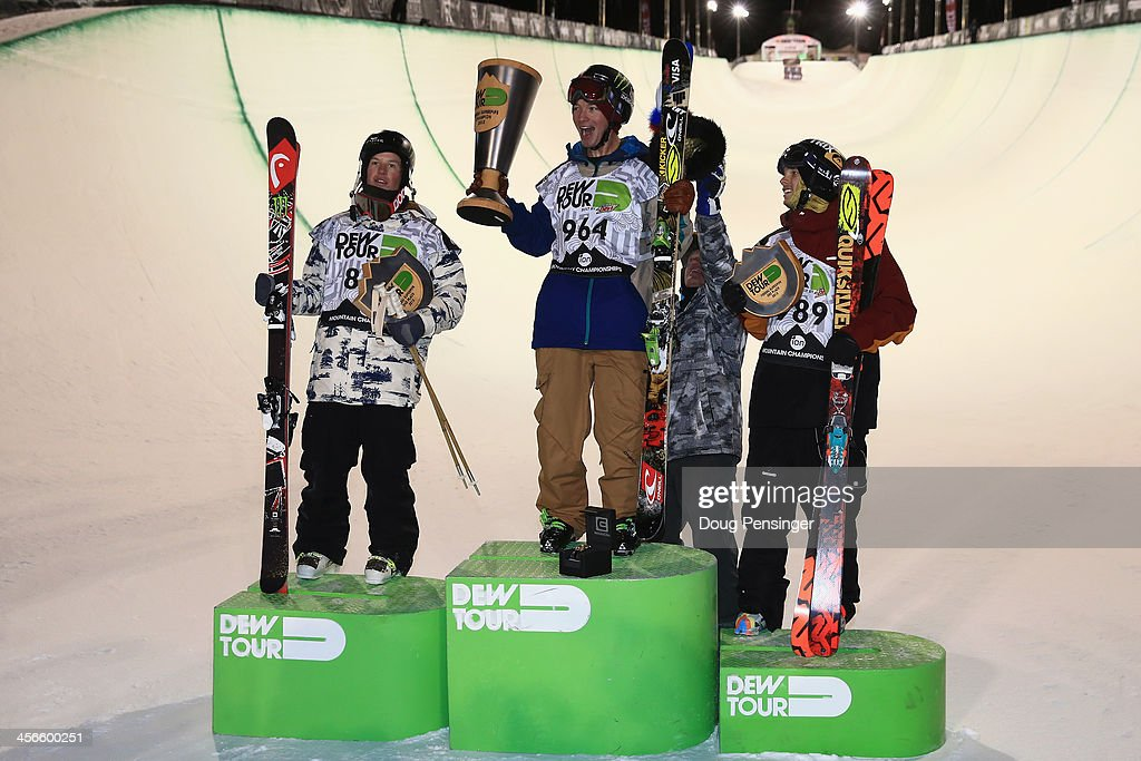 Aaron Blunck in second place, David Wise in first place and Lyman Currier in third place, take the podium for the men's ski superpipe final at the Dew Tour iON Mountain Championships on December 14, 2013 in Breckenridge, Colorado.