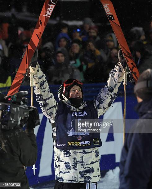 Aaron Blunck of the United States celebrates as he wins the men's FIS Ski Halfpipe World Cup at the US Snowboarding and Freeskiing Grand Prix on...