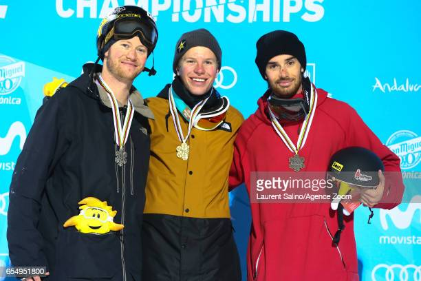 Aaron Blunck of USA wins the gold medal Mike Riddle of Canada wins the silver medal Kevin Rolland of France wins the bronze medal during the FIS...