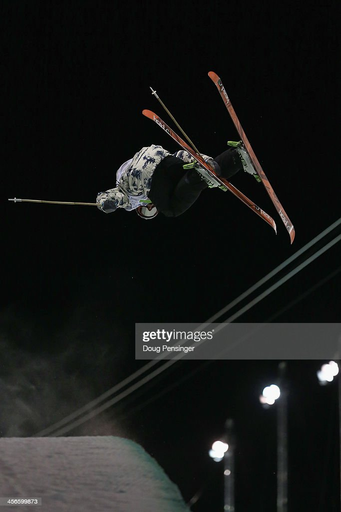Aaron Blunck skis to second place in the men's ski superpipe final at the Dew Tour iON Mountain Championships on December 14, 2013 in Breckenridge, Colorado.